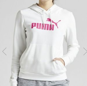 Puma Tops - Pink and white PUMA fleece logo hoodie